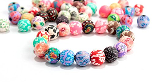 HYBEADS 100pcs Mixed Lots Rose Flower Fimo Polymer Clay Beads DIY Crafts 8mm Round
