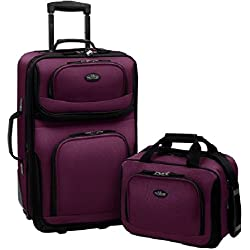 US Traveler Rio Two Piece Expandable Carry-On Luggage Set, Purple