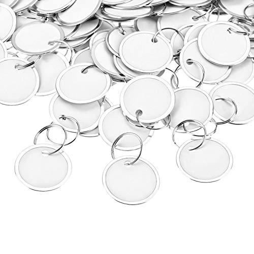 - Fanrel 100 Pieces Metal Rimmed Key Tags Round Paper Tags with Split Rings (31mm, White)