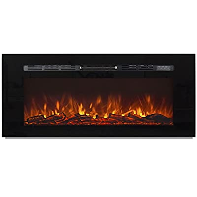 "Best Choice Products 1500W 50"" Heat Adjustable In-Wall Recessed Electric Fireplace, Wall Mount Compatible W/ Remote Control"