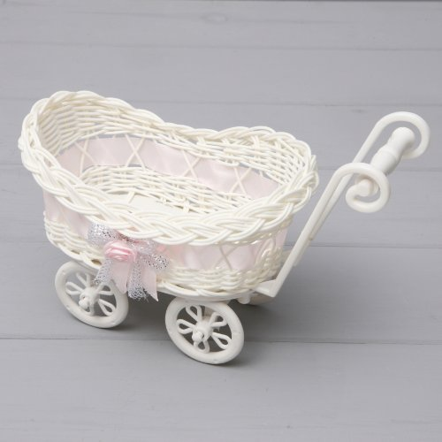 Baby Hamper Wicker Pram Basket Newborn Shower Party Boys Girls Trolley Stroller