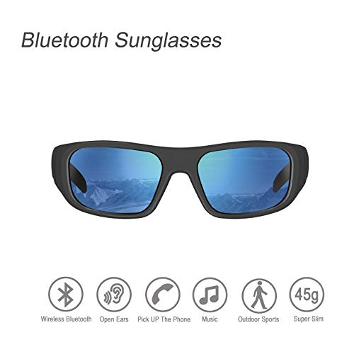 Bluetooth Sunglasses,Ear-Free Design Sunglasses Headset with Polarized UV400 Protection Safety Lenses for Outdoor Sports Compatible for All Editions of Smart Phone (Unisex)