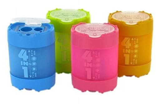 KUM 4 in 1 Sharpener with Waste Container - 1 Piece (Assorted Colors)