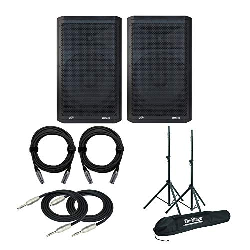 Peavey Dark Matter DM 115 Two-Way Bi-Amplified Speakers (Pair) Bundle with Speaker Stands, 2 Knox XLR and 1/4