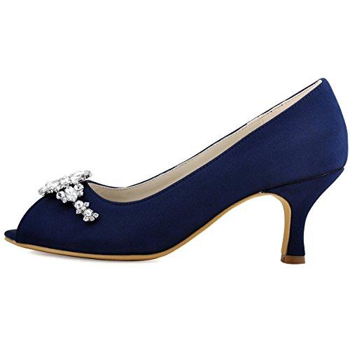 Tacon Saten Cristales Toe Rhinestones Peep zapatos Novia HP1541 Mid Marino Clip ElegantPark Mujer Azul Hebilla boda Iv4URU
