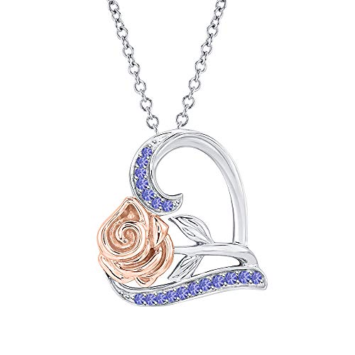 Dazzling Rose Flower Heart Pendant Necklace Tanzanite 14k White-Dazzling Rose Gold Over .925 Sterling Silver for ()