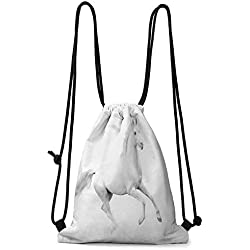 Organizer Pocket Black and White,White Stallion Running Horse Galloping Motion Speed Equestrian Print,White and Black W13.8 x L17 Inch Home Decor