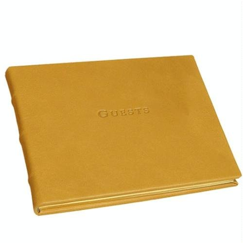 Ribbon Bound Guest Book - Leather Bound Handcrafted Guestbook, Hardcover, British Tan