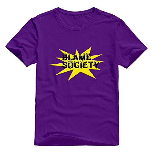 KST Men's Blame Society 100% Cotton O Neck Retro Letter T-Shirt Purple Size 3X