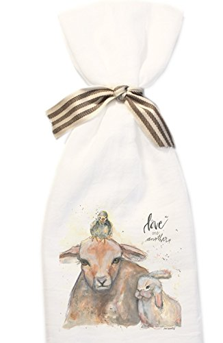 Spring Baby Trio, Bunny, Goat and Chick, Love One Another Flour Sack Towel.