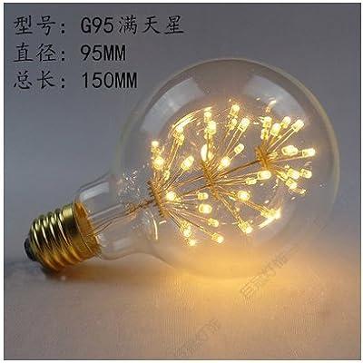 2× Edison Ampoule à filament de tungstène LED Ampoule Tree Super Star Look rétro variateur Source lumineuse st64,3,–Super star95–, le chaud couleur jaune
