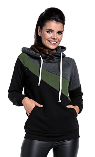 Happy Mama Womens Nursing Hoodie Breastfeeding Top Colour Block Maternity. 321p (Graphite Melange & Olive & Black, US 6, M) by Happy Mama (Image #3)