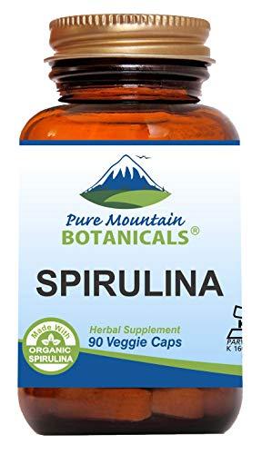 Spirulina Capsules - 90 Kosher Vegan Caps - Now with 450mg Organic Spirulina Powder - Natures Superfood Supplement