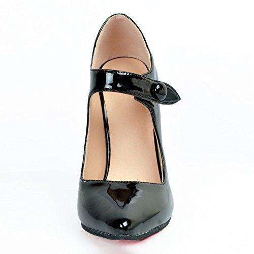 Womens Mary Schwarz Fashion cm Heel Handmade Pump Spitze Kolnoo 10 Janes Partei High Schuhe Prom dawqd0x
