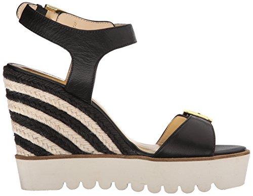 Nine West Women's Aprilshower Leather Wedge Sandal Black 6Il5z