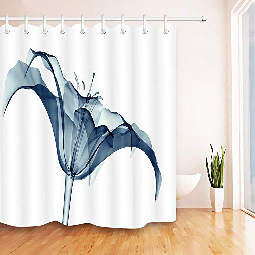 youyoutang X-ray Plant Blooming Lilly Flowers Shower Curtain Waterproof Fabric 3D High-Definition Printing Does Not Fade 12 Shower Hooks 70.8X70.8 Inch Home Decor Bathroom Accessories (Lilly Pulitzer Bath Accessory Sets Shower Curtains)