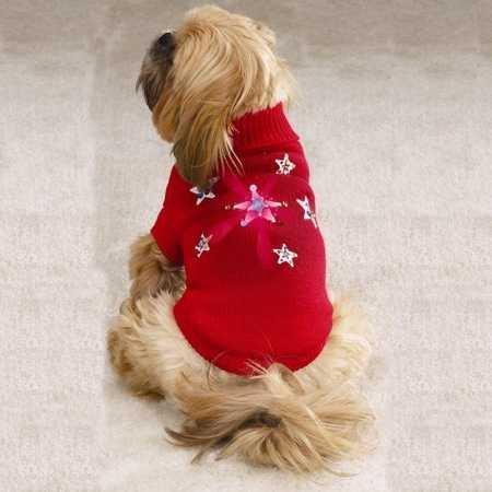 Zack & Zoey Acrylic Twinkling Star Dog Sweater, XX-Small, Red