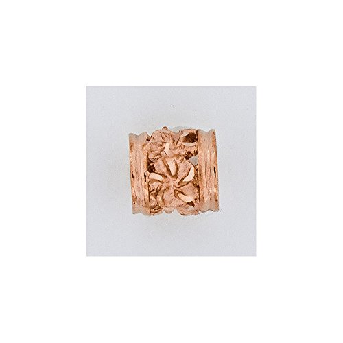 14k Rose Gold Diamond-cut Mini Plumeria Barrel Chain - Chain Barrel Slide