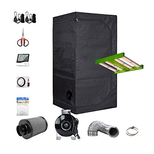 "BestMart Grow Tent Kit Complete 32""x32""x63"" Indoor Growing Room+Strip LED Grow Lights 100W+4"" Fan Filter Ventilation…"