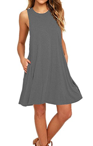 Amstt Casual Swing T Sleeveless Loose Pockets Shirt Women's Gray Summer Dresses twXrqZX