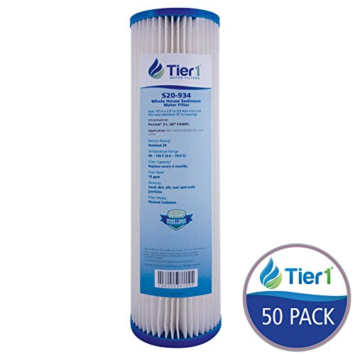Tier1 Pentek S1, GE FXWPC Comparable 20 Micron 10 x 2.5 Pleated Cellulose Sediment Water Filter 50 Pack