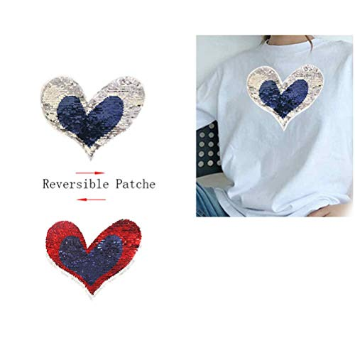 Patches - Reversible Change Color Sequins Love Heart Sew On Patches Patch Applique Bag Clothing Sweater - Exercise Boiled Bulk Potty Peanut Butterfly Embroidered Medic Feather Strass Leo