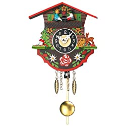 Miniature Quartz Pendulum Cuckoo Clock with Seesaw, 4 Inch