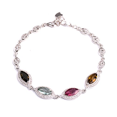 "Sterling Silver Bracelet with 4 Multi-Colored Marquise-Shape Tourmaline Gemstones, 7.8"" by Fii Sic"