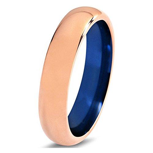Tungsten Wedding Band Ring 4mm 6mm 8mm for Men Women Blue 18k Rose Gold Domed Polished FREE Custom Laser Engraving Lifetime Guarantee by P Manoukian