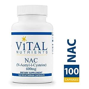 Vital Nutrients - NAC (N-Acetyl Cysteine) 600 mg - Vegan Formula - Supporting Sinus and Respiratory Health - 100 Vegetarian Capsules per Bottle