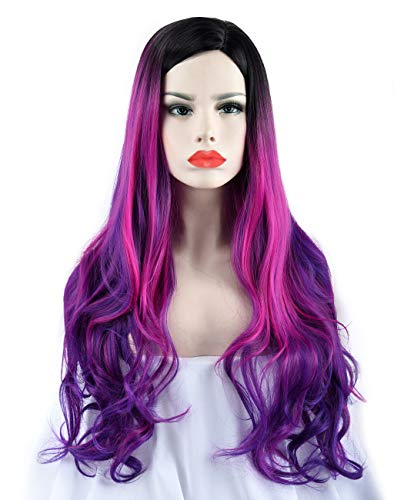 SEIKEA Colored Ombre Wig for Women Long Wavy Hair Heat Friendly Girl Cosplay Costume Side Parting with Root- Black Purple
