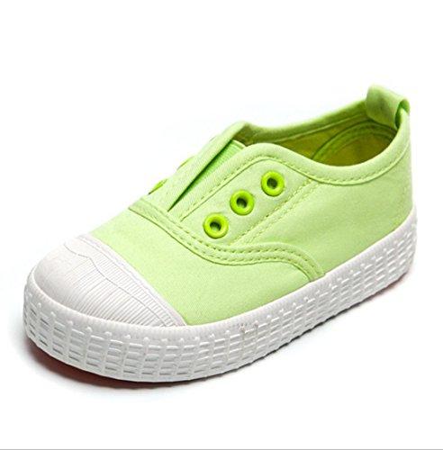 YC gut Jungen Mädchen Kinder Leinwand Schuhe-Sneakers, knöchelfrei Sneakers Unisex Schuhe Flach Pumpen, grün - grün - Größe: 35 EU