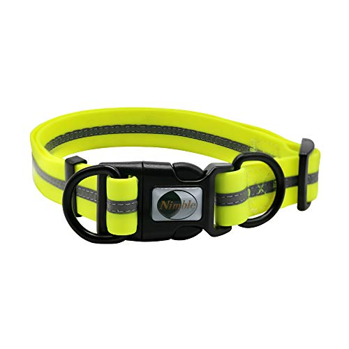 "NIMBLE Dog Collar Waterproof Pet Collars Anti-Odor Durable Adjustable PVC & Polyester Soft with Reflective Cloth Stripe Basic Dog Collars S/M/L Sizes (Large (15.35""-24.8""inches), Fluorescent Yellow)"