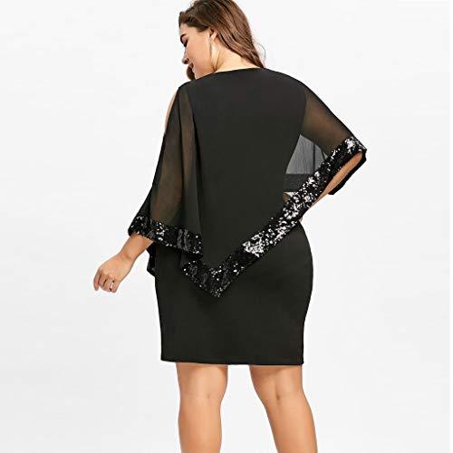 Plus in paillettes Abiti senza For spalline Size sovrapposto chiffon Black Plus Donna Abito in Felz Size 00BzSE