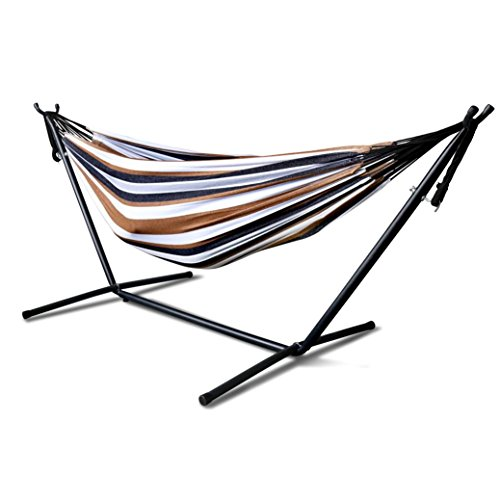 Portable Hammock Bed, Tloowy Double Hammock Swing Bed With Space Saving Steel Stand +Portable Carrying Case for Backpacking, Travel, Beach, Yard, Patio, Outdoor, Max Weight: 450lb (Desert Moon) (Chairs Long Garden Oasis Beach)