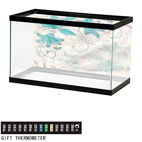 (bybyhome Fish Tank Backdrop Floral,Delicate Stems Foliage Curvy,Aquarium Background,24