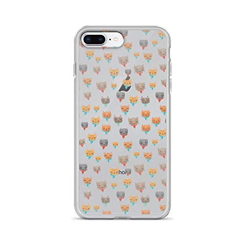 iPhone 7 Plus/8 Plus Pure Clear Case Cases Cover Seamless Pattern of Cute Cartoon Cat Face]()