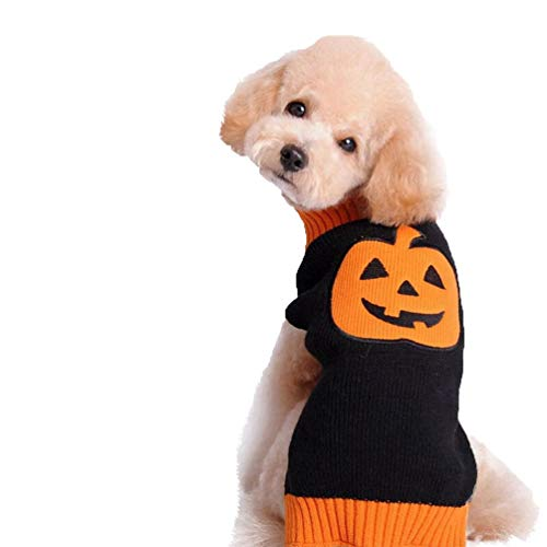 MeiAOBest Pet Clothes, Dog Winter Sweater Coat Warm Soft Breathable Pumpkin Pattern T-Shirt Halloween Costume for Puppy Small Dog -