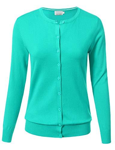 ARC Studio Women Button Down Long Sleeve Crewneck Soft Knit Cardigan Sweater 1XL Mint - Cardigan Print Ribbed