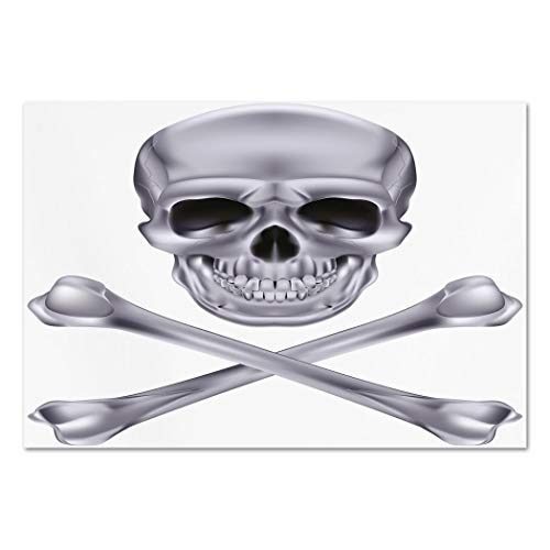 (Large Wall Mural Sticker [ Silver,Vivid Skull and Crossbones Dangerous Scary Dead Skeleton Evil Face Halloween Theme Decorative,Dimgray ] Self-adhesive Vinyl Wallpaper / Removable Modern Decorating)