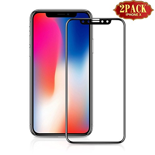 iPhone X Screen Protector Tempered Glass, Eglass 9H Full Coverage Premium Anti-Blue Ray Scratch-Resistant Film for iPhone X Screen Guard, iPhone X Screen Film, Case Friendly,2-pack (iphoneX-Black)
