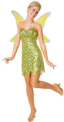 Adult Tinkerbell Costumes (Time AD Inc. 194668 Sequin Deluxe Tinkerbell Adult Costume - Green - Small)