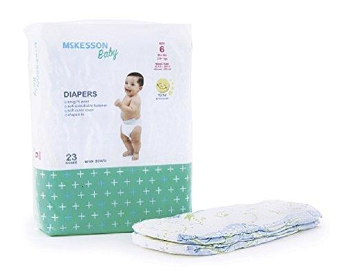"""McKesson BDSZ6 Baby Diaper, 16.7""""-24.5"""" Waist Size, 6"""