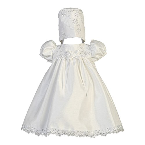 Lito Baby Girls White Shantung Embroidered Tulle Sequin Baptism Gown 0-3M