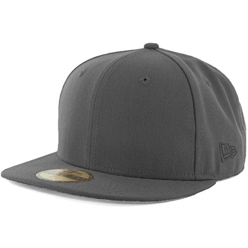 New Era Plain Tonal 59Fifty Fitted Hat (Graphite) Men's Blank Cap - New Era Fitted Cap Hat