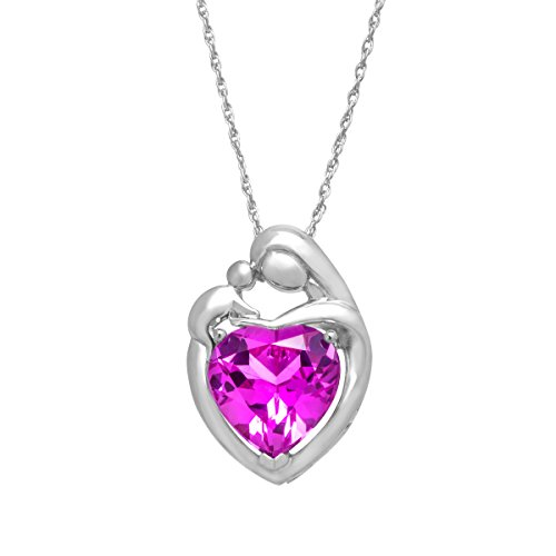 Created Pink Sapphire Mother and Child Pendant Necklace in Sterling Silver