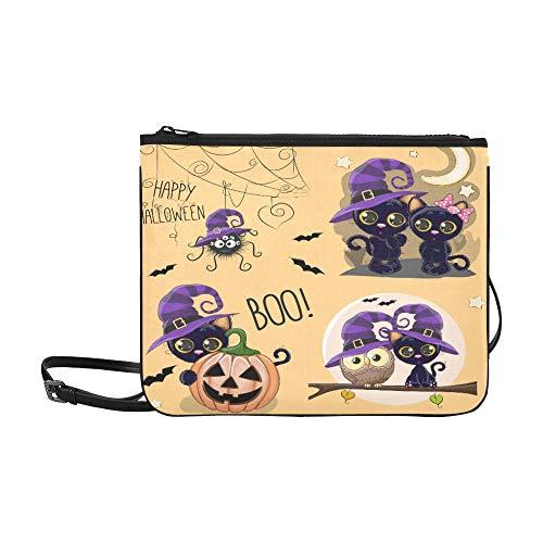 Happy Halloween Witches Cute Black Cats With Owl Pattern Custom High-grade Nylon Slim Clutch Bag Cross-body Bag Shoulder Bag]()