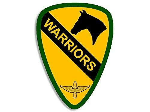 1962 Bumper - MAGNET 3x4 inch 1st Cavalry WARRIORS Aviation Insignia Shaped Sticker (army first SSI) Magnetic vinyl bumper sticker sticks to any metal fridge, car, signs