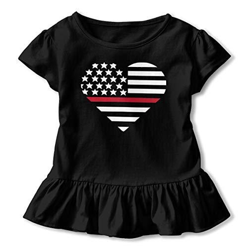 - First Responder Heart Thin Red Line Baby Girls Summer Dress Outfits Ruffle Short T-Shirt Romper Dress,One-Piece Jumpsuit