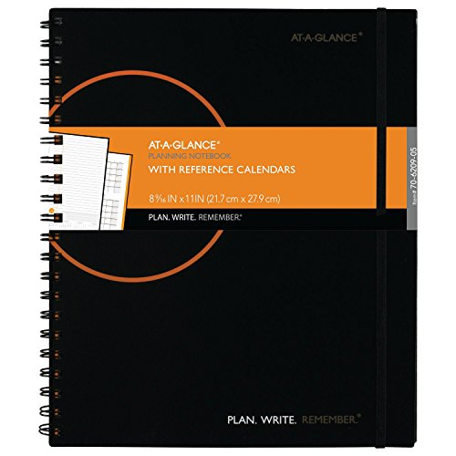 "AT-A-GLANCE Planning Notebook with Reference Calendars, Plan.Write.Remember., 8-9/16"" x 11"", Undated Pages, Black (70620905)"